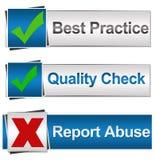 Abuso rapporto del controllo di qualità di best practice Immagine Stock Libera da Diritti