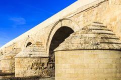 The abutment of the Roman bridge of Cordoba stock image