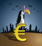 Abutre da falência que senta-se em um euro- sinal de moeda Fotografia de Stock