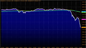 abwärtstendenz Finanziell, Ausfall, Wirtschaftskrise Aktienkurvefall vektor abbildung