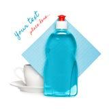 Abwaschflüssigkeit mit sauberem Cup Stockfoto
