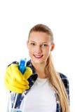 Abwaschflüssigkeit und -schwämme Junge Frau cleaninc Lizenzfreie Stockfotografie
