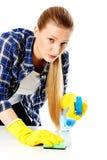 Abwaschflüssigkeit und -schwämme Junge Frau cleaninc Stockbilder