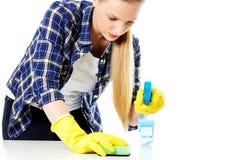Abwaschflüssigkeit und -schwämme Junge Frau cleaninc Lizenzfreie Stockfotos