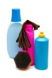 Abwaschflüssigkeiten mit einem Schwamm Stockbild