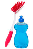 Abwaschreinigungsmittel mit roter Bürste Stockfotografie