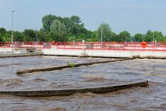 Abwasseraufbereitung, Anlage, Belüftung des Abwassers Lizenzfreie Stockbilder