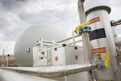 Abwasserbehandlungs-Anlage Gasbehälter Stockfotografie