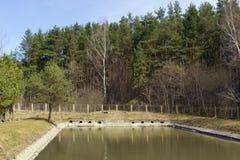 Abwasserkanalabflüsse der kleinen Stadt Stockbild