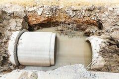 Abwasserkanalinstallation in der Stadt Lizenzfreie Stockfotos