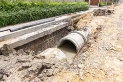 Abwasserkanalinstallation in der Stadt Lizenzfreies Stockfoto