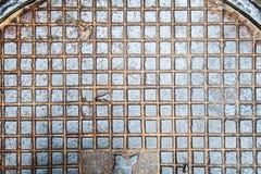 Abwasserkanallukenbeschaffenheit mit Rosthintergrund, Beschaffenheit, Weinlese Lizenzfreies Stockfoto