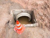 Abwasserkanalwasserleitungsbau Stockbild