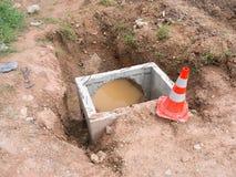 Abwasserkanalwasserleitungsbau Lizenzfreie Stockfotografie