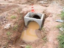 Abwasserkanalwasserleitungsbau Stockfotos
