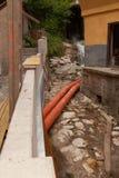 Abwasserrohre Orange Abwasserrohre Stockfoto
