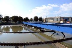 Abwasserteich Stockfoto
