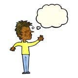 abweisender Mann der Karikatur mit Gedankenblase Stockfotos