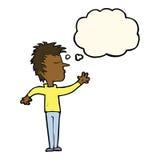 abweisender Mann der Karikatur mit Gedankenblase Stockbild