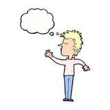 abweisender Mann der Karikatur mit Gedankenblase Stockfotografie