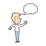 abweisender Mann der Karikatur mit Gedankenblase Lizenzfreie Stockbilder