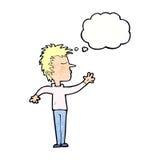 abweisender Mann der Karikatur mit Gedankenblase Lizenzfreies Stockbild