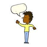 abweisender Mann der Karikatur mit Spracheblase Lizenzfreies Stockbild