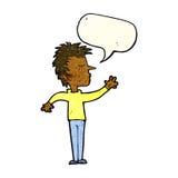 abweisender Mann der Karikatur mit Spracheblase Lizenzfreie Stockfotos