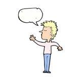 abweisender Mann der Karikatur mit Spracheblase Stockbilder