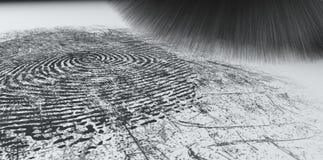 Abwischen für Fingerabdrücke auf Weiß Stockfoto