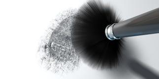 Abwischen für Fingerabdrücke auf Weiß Lizenzfreie Stockfotografie