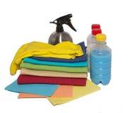 Abwischen für Reinigungshandschuhe und Spray Lizenzfreie Stockbilder