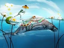 Żaby doskakiwanie na manacie royalty ilustracja