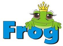 Żaby princess z błękitną słowo żabą Obrazy Royalty Free