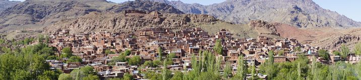 Panorama: Abyaneh – the beautiful ancient red village of Iran in a clear day. Abyaneh is one of the oldest villages in Iran. It is known to have existed 2 Royalty Free Stock Image