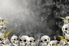 Smoking skulls in abyss Royalty Free Stock Photo