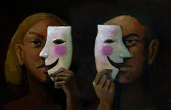 Abyss of feelings. A man and a woman in the foreground hide their feelings behind a smiling mask Stock Photo