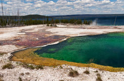 Abyss Pool and Yellowstone Lake Stock Photo
