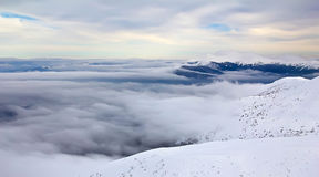 Abyss. In the winter mountains Stock Image