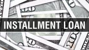 Abzahlungsdarlehen-Nahaufnahme-Konzept Amerikanische Dollar des Bargeld-, Wiedergabe 3D Abzahlungsdarlehen an der Dollar-Banknote stock abbildung