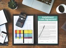 Abzahlungsdarlehen-Vereinbarungs-Kredit-Finanzschuld-Konzept Stockbilder