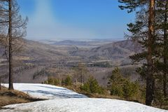 Abzakovo ośrodka narciarskiego południe Urals fotografia stock