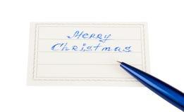 Abzeichen mit der Beschreibung - frohe Weihnachten Stockbild