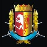 Abzeichen mit Löwe Stockfotos