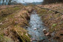 Abzugsgraben mit Wasser auf dem wilden Gebiet lizenzfreies stockfoto