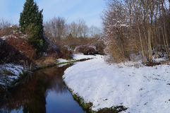 Abzugsgraben umgeben durch Schnee Lizenzfreie Stockbilder