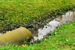 Abzugskanalgussfehlerentleerungs-Abwasserwasser mit wenig puddl Lizenzfreie Stockbilder