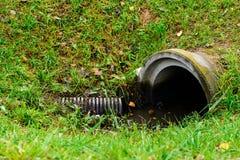 Abzugskanalgussfehlerentleerungs-Abwasserwasser mit wenig puddl Stockbild