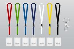 Abzugsleine-Durchlauf-Schablone-Modell-Illustration-Band-Plastik-farbig Stock Abbildung