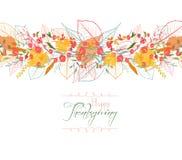 Acção de graças feliz Fundo das folhas de outono estilizados para cartões Imagens de Stock Royalty Free